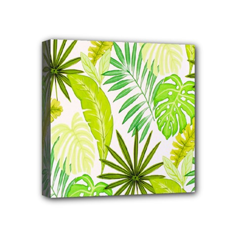 Amazon Forest Natural Green Yellow Leaf Mini Canvas 4  X 4