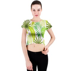 Amazon Forest Natural Green Yellow Leaf Crew Neck Crop Top