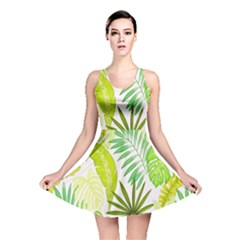 Amazon Forest Natural Green Yellow Leaf Reversible Skater Dress