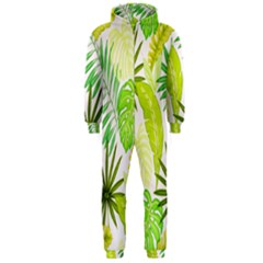Amazon Forest Natural Green Yellow Leaf Hooded Jumpsuit (men)