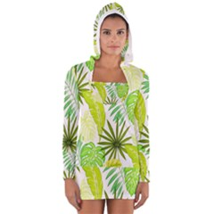 Amazon Forest Natural Green Yellow Leaf Long Sleeve Hooded T Shirt