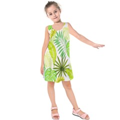 Amazon Forest Natural Green Yellow Leaf Kids  Sleeveless Dress