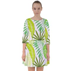 Amazon Forest Natural Green Yellow Leaf Smock Dress