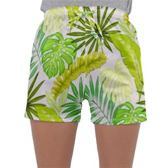 Amazon Forest Natural Green Yellow Leaf Sleepwear Shorts