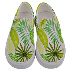 Amazon Forest Natural Green Yellow Leaf Men s Canvas Slip Ons