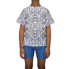 Black Psychedelic Pattern Kids  Short Sleeve Swimwear