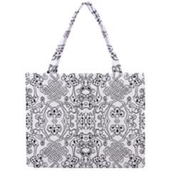 Black Psychedelic Pattern Mini Tote Bag