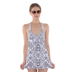 Black Psychedelic Pattern Halter Swimsuit Dress