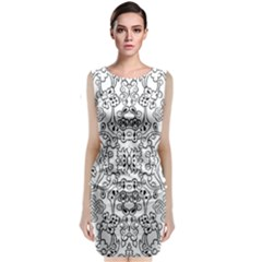 Black Psychedelic Pattern Classic Sleeveless Midi Dress