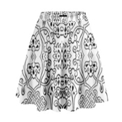 Black Psychedelic Pattern High Waist Skirt
