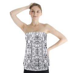 Black Psychedelic Pattern Strapless Top