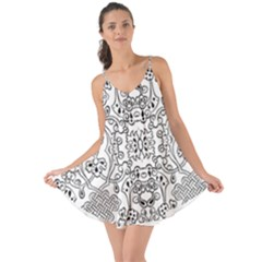 Black Psychedelic Pattern Love The Sun Cover Up