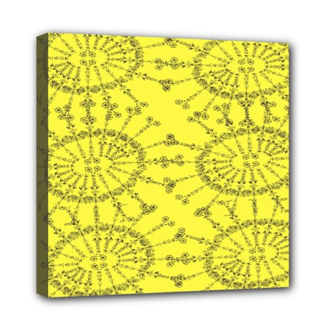 Yellow Flower Floral Circle Sexy Mini Canvas 8  X 8