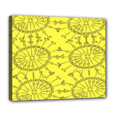 Yellow Flower Floral Circle Sexy Deluxe Canvas 24  X 20