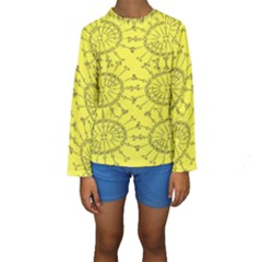 Yellow Flower Floral Circle Sexy Kids  Long Sleeve Swimwear