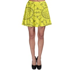 Yellow Flower Floral Circle Sexy Skater Skirt