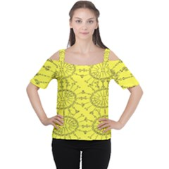 Yellow Flower Floral Circle Sexy Cutout Shoulder Tee