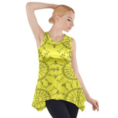 Yellow Flower Floral Circle Sexy Side Drop Tank Tunic