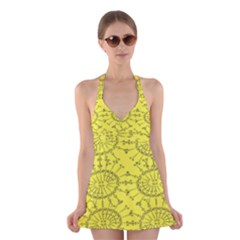 Yellow Flower Floral Circle Sexy Halter Swimsuit Dress