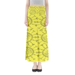 Yellow Flower Floral Circle Sexy Full Length Maxi Skirt