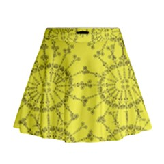 Yellow Flower Floral Circle Sexy Mini Flare Skirt
