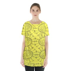 Yellow Flower Floral Circle Sexy Skirt Hem Sports Top