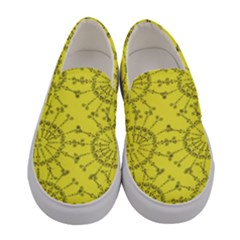 Yellow Flower Floral Circle Sexy Women s Canvas Slip Ons