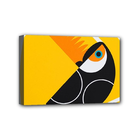 Cute Toucan Bird Cartoon Yellow Black Mini Canvas 6  X 4
