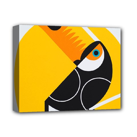 Cute Toucan Bird Cartoon Yellow Black Deluxe Canvas 14  X 11