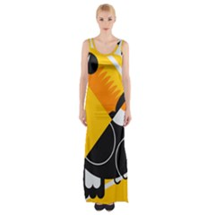 Cute Toucan Bird Cartoon Yellow Black Maxi Thigh Split Dress