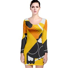 Cute Toucan Bird Cartoon Yellow Black Long Sleeve Velvet Bodycon Dress