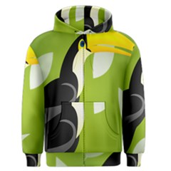 Cute Toucan Bird Cartoon Fly Yellow Green Black Animals Men s Zipper Hoodie