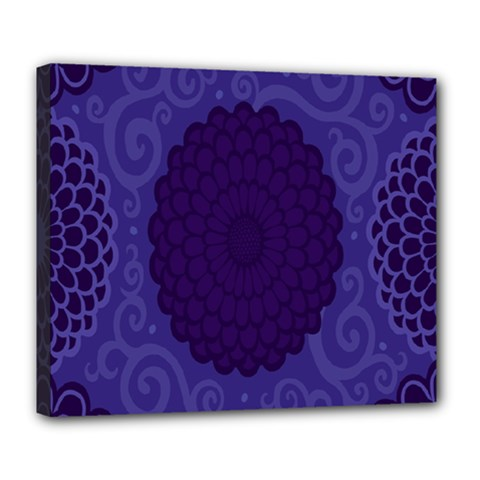 Flower Floral Sunflower Blue Purple Leaf Wave Chevron Beauty Sexy Deluxe Canvas 24  X 20