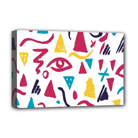 Eye Triangle Wave Chevron Red Yellow Blue Deluxe Canvas 18  X 12