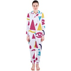 Eye Triangle Wave Chevron Red Yellow Blue Hooded Jumpsuit (ladies)