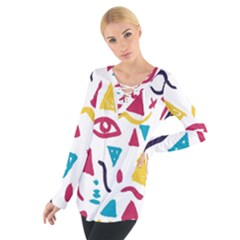 Eye Triangle Wave Chevron Red Yellow Blue Tie Up Tee