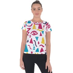 Eye Triangle Wave Chevron Red Yellow Blue Short Sleeve Sports Top
