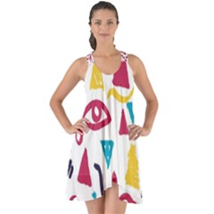 Eye Triangle Wave Chevron Red Yellow Blue Show Some Back Chiffon Dress
