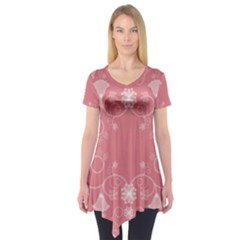 Flower Floral Leaf Pink Star Sunflower Short Sleeve Tunic