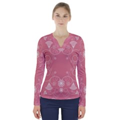 Flower Floral Leaf Pink Star Sunflower V Neck Long Sleeve Top