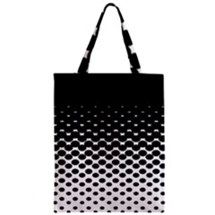 Gradient Circle Round Black Polka Zipper Classic Tote Bag