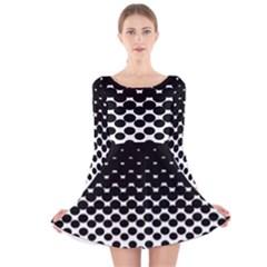 Gradient Circle Round Black Polka Long Sleeve Velvet Skater Dress