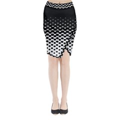 Gradient Circle Round Black Polka Midi Wrap Pencil Skirt