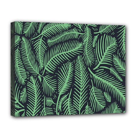 Coconut Leaves Summer Green Canvas 14  X 11