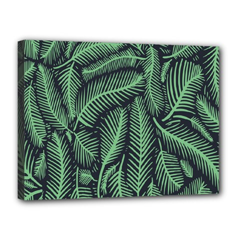 Coconut Leaves Summer Green Canvas 16  X 12