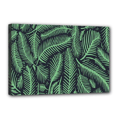 Coconut Leaves Summer Green Canvas 18  X 12