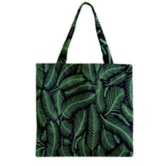 Coconut Leaves Summer Green Zipper Grocery Tote Bag
