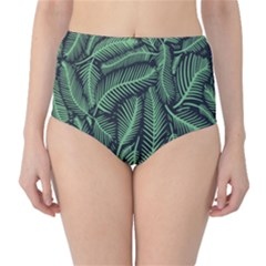 Coconut Leaves Summer Green High Waist Bikini Bottoms