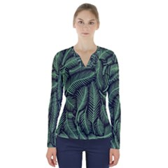 Coconut Leaves Summer Green V Neck Long Sleeve Top