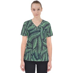 Coconut Leaves Summer Green Scrub Top